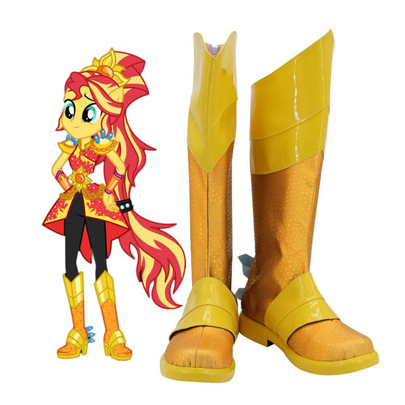 My Little Pony Sunset Shimmer Cosplay Boots Yellow Shoes Custom Made Any Size for Adults and Kids