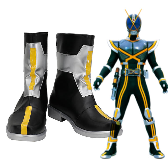 Kamen Rider Kaixa Cosplay Boots Masked Rider Kaixa Leather Shoes Cosplay Custom Made Any Size