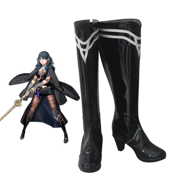 Fire Emblem Three Houses Female Byleth Cosplay Boots Black Shoes High Heel Leather Boots Custom Made for Halloween Cosplay
