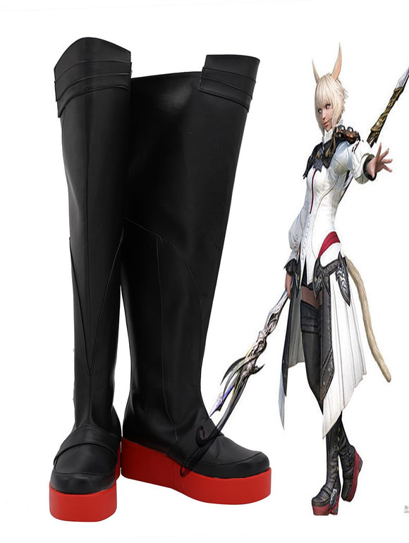 Final Fantasy 14 FF14 Y'shtola Rhul Cosplay Boots Black Shoes Matoya Master Cosplay Shoes
