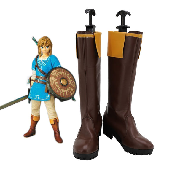 Link Shoes Cosplay The Legend of Zelda Breath of the Wild Link Cosplay Boots Brown Shoes Custom Made