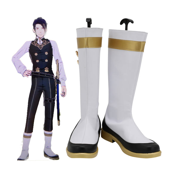 FE Felix White Shoes Cosplay Fire Emblem: Three Houses Felix Cosplay Boots Leather Shoes Cosplay Custom Made