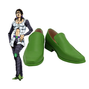 JOJO Illuso Green Shoes Cosplay JoJo's Bizarre Adventure Illuso Cosplay Boots Leather Shoes Custom Made