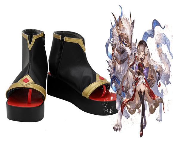 Granblue Fantasy Pholia Cosplay Boots Black Shoes Custom Made Any Size