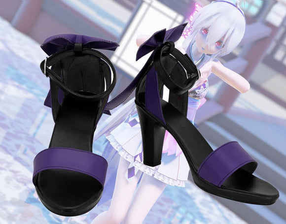 Vocaloid Yowane Haku Cosplay Sandals Purple Leather Shoes High Heel Sandals Custom Made
