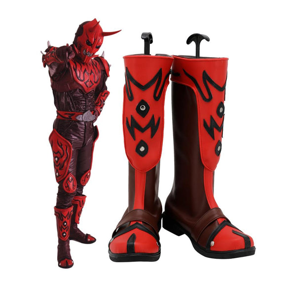 Masked Rider Hibiki Cosplay Boots Leather Red Shoes Kamen Rider Hibiki Boots Custom Made