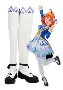 Love Live Sunshine Chika Takami Brightest Melody Cosplay Boots White Shoes Custom Made