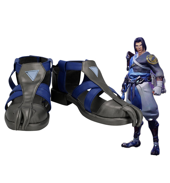 Overwatch OW Shimada Hanzo Cosplay Shoes Blue Version Boots Halloween Carnival Cosplay Shoes Custom Made