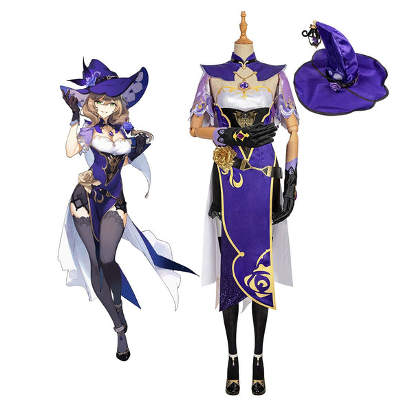 Genshin Impact Lisa Minci Cosplay Costume Lisa Dress Shoes Hat Full Set Custom Made
