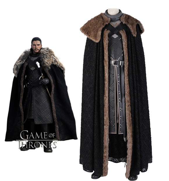 Game of Thrones Season 8 Jon Snow Cosplay Costume Custom Made Jon Snow Leather Cloak Vest Boots Full Set Cosplay