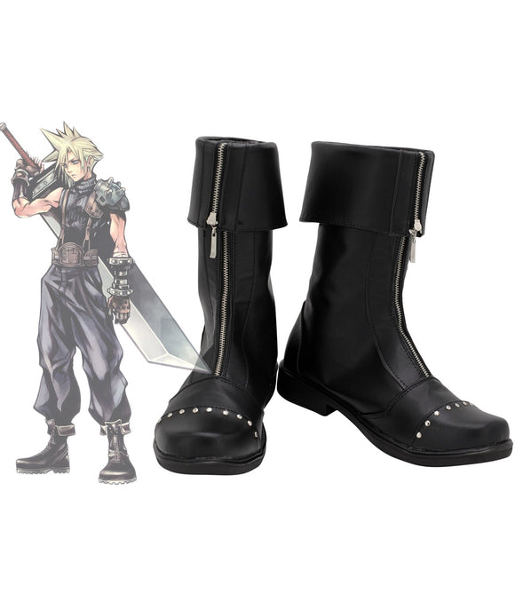 Final Fantasy 7 FF7 Cloud Strife Cosplay Boots Customized Black Shoes