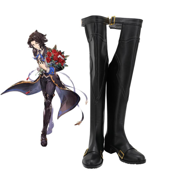 Lancelot Shoes Cosplay Granblue Fantasy Lancelot Cosplay Boots Black Shoes Custom Made