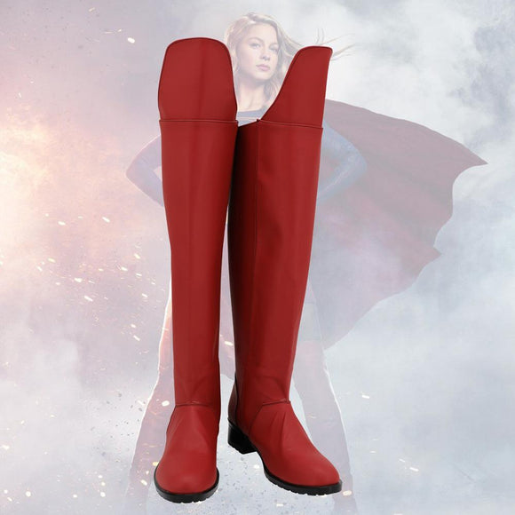 Superhero Supergirl Kara Zor-El Danvers Cosplay Boots Red Shoes Custom Made Halloween Boots Any Size