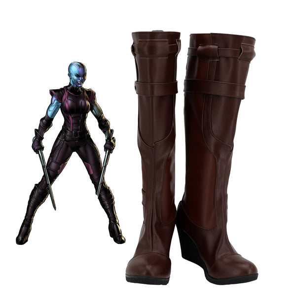 Avengers Endgame Nebula Cosplay Boots Wedge Heel Shoes Custom Made Nebula Brown Shoes for Halloween Cosplay