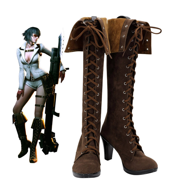 Devil May Cry4 Lady Cosplay Boots Brown Shoes DMC4 Lady High Heel Leather Boots Custom Made for Halloween Party Women Costume Accessories