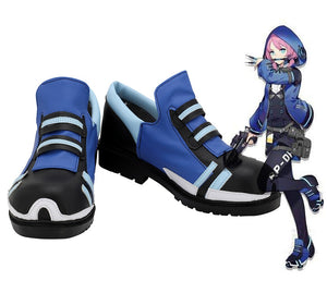 Game Arknights Blue Poison Cosplay Boots Blue Leather Shoes Custom Made