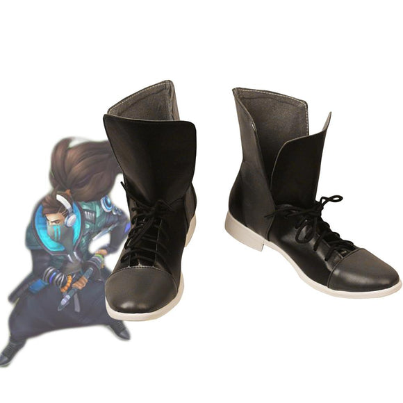 LOL True Damage the Unforgiven Yasuo Cosplay Boots Black Shoes Custom Made for Unisex