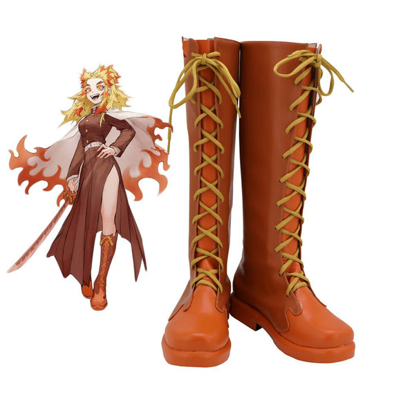 Demon Slayer Kimetsu no Yaiba Female Kyojuro Rengoku Cosplay Boots Leather Shoes Custom Made