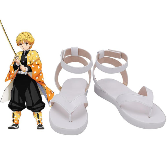 Kimetsu no Yaiba Zenitsu Agatsuma Cosplay Shoes White Sandals Demon Slayer Zenitsu Agatsuma Shoes Cosplay