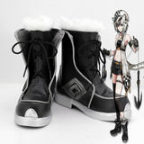 Arknights Cliffheart Cosplay Boots Black Leather Shoes Cliffheart Wool Boots Custom Made