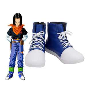 Dragon Ball Android 17 Cosplay Boots Blue Shoes Custom Made Any Size