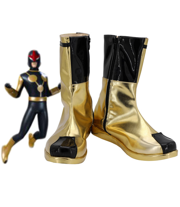 Superhero Nova Crops Nova Cosplay Boots Golden Shoes Custom Made Any Size for Unisex