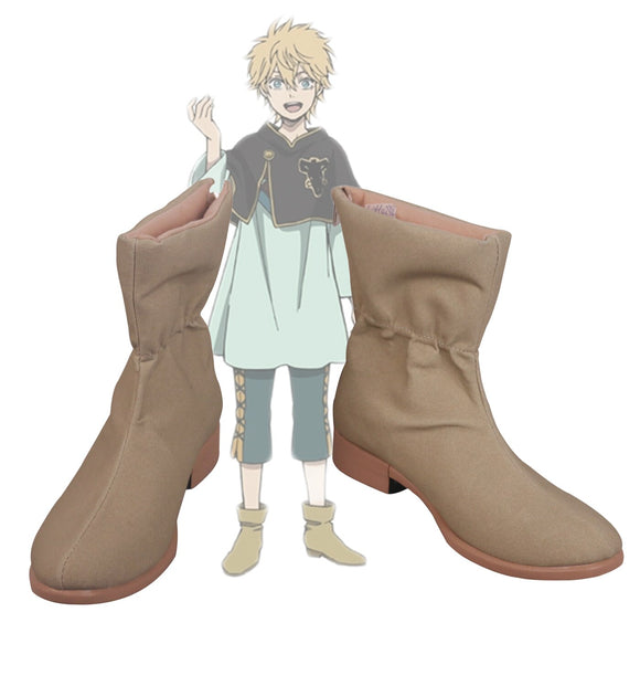 Black Clover Luck Voltia Cosplay Boots Rakku Borutia Customized Leather Shoes Any Size for Boys and Girls