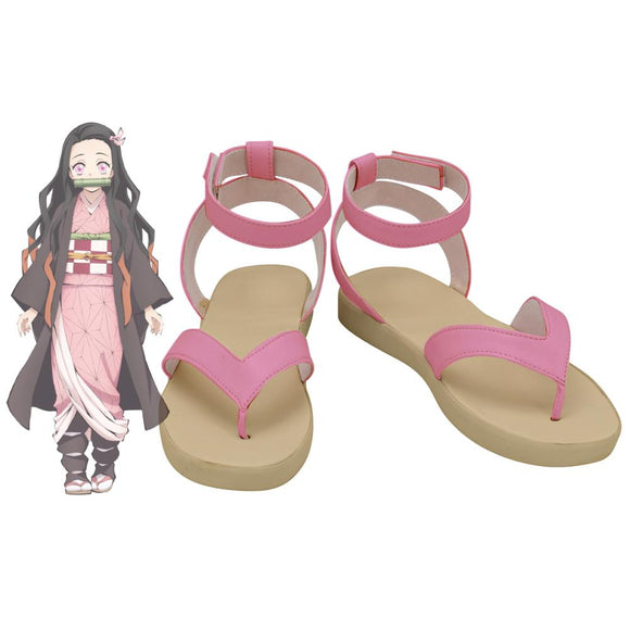 Kimetsu no Yaiba Kamado Nezuko Cosplay Shoes Pink Sandals Demon Slayer Nezuko Kamado Shoes Cosplay