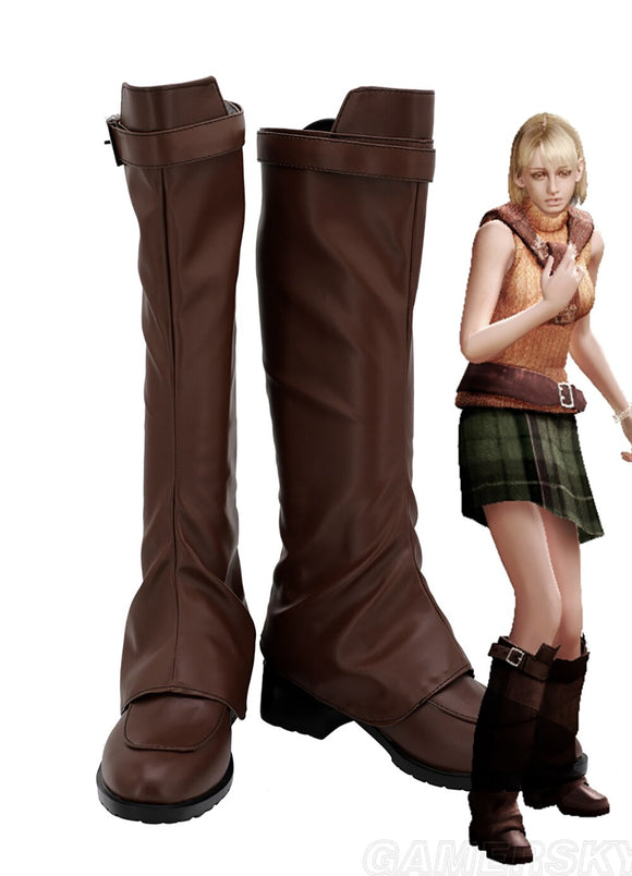 Resident Evil Ashley Graham Cosplay Boots Brown Leather Shoes Custom Made Any Size