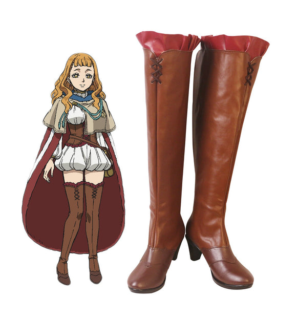 Black Clover Mimosa Vermillion Cosplay Boots Brown Shoes Mimosa High Heel Shoes Custom Made