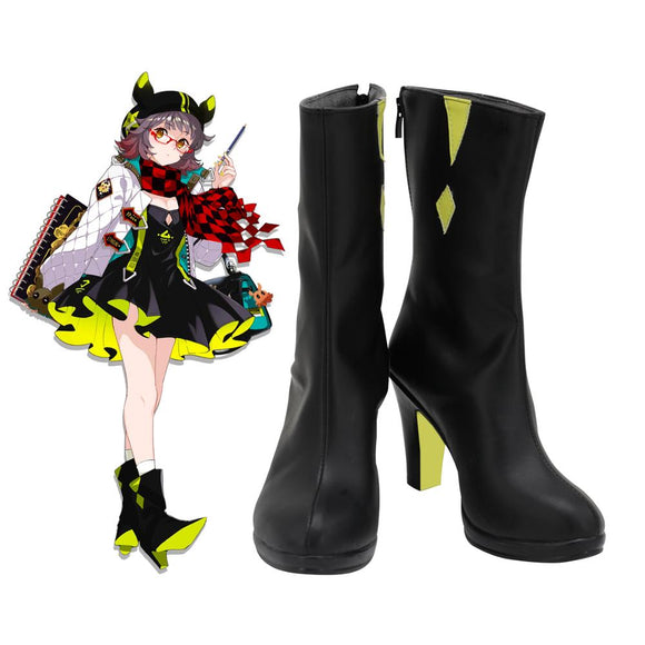 Arknights Deepcolor Cosplay Boots High Heel Black Shoes Custom Made