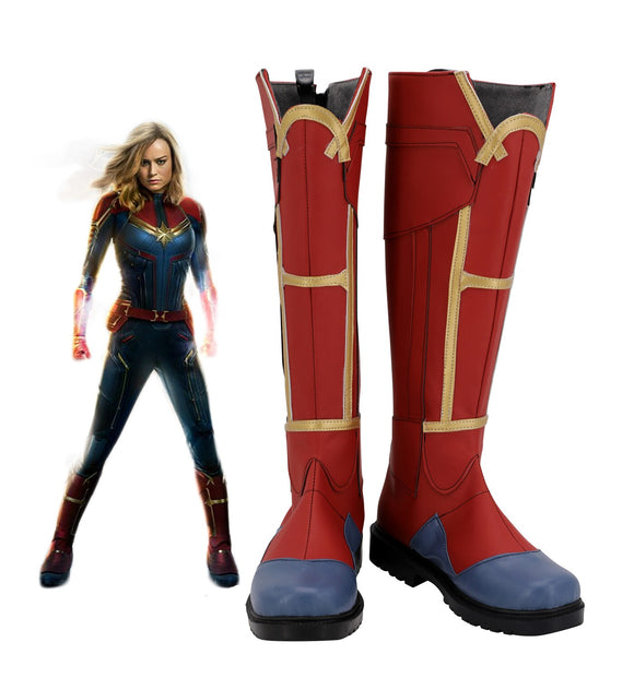 Captain Marvel Carol Danvers Cosplay Boots Red Shoes Custom Made Any Size for Unisex