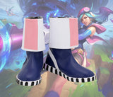 LOL League of Legends Arcade Caitlyn Cosplay Boots Custom Made Blue Leather Shoes Any Size