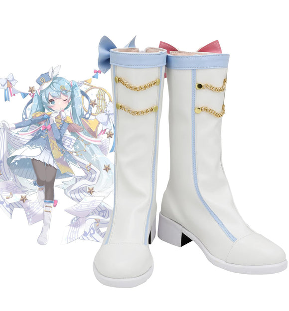 Vocaloid Snow Miku 2020 Cosplay Boots White Shoes Custom Made Any Size for Halloween Party Cosplay Accessories