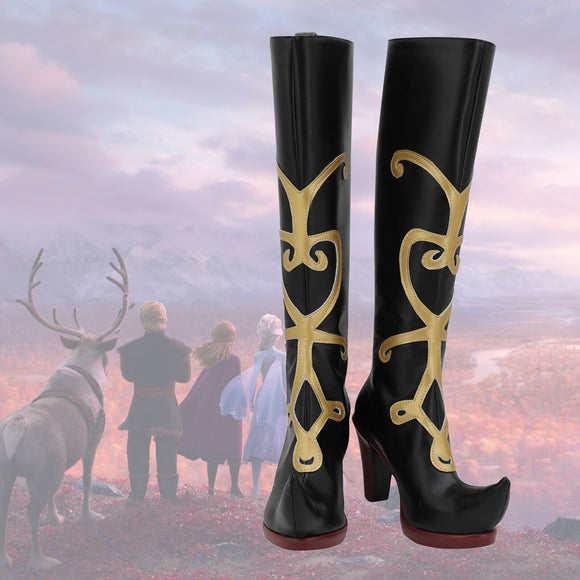 Frozen2 Anna Cosplay Boots Anna Pointed-toe Leather Shoes High Heel Boots for Unisex Halloween Party Cosplay
