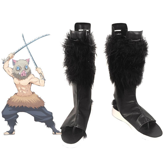 Demon Slayer Kimetsu no Yaiba Inosuke Hashibira Cosplay Boots Black Wool Shoes Custom Made Any Size