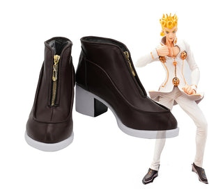 JoJo's Bizarre Adventure Giorno Giovanna Brown Shoes Custom Made High Heel Shoes for Boys and Girls Halloween Cosplay