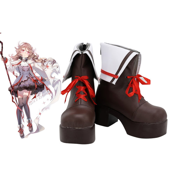 Arknights Eyjafjalla Cosplay Boots Brown High Heel Shoes Custom Made