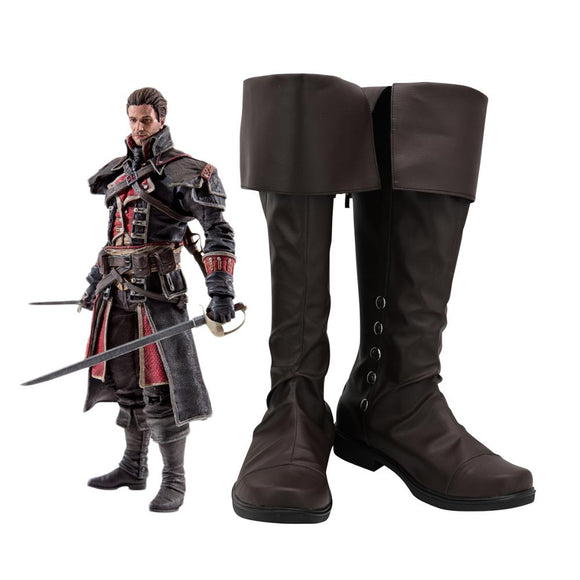Assassin's Creed Shay Patrick Cormac Cosplay Boots Brown Shoes Custom Made Any Size