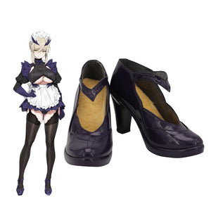 FGO Artoria Pendragon Leather Shoes Cosplay Fate Grand Order Artoria Pendragon Cosplay Boots Purple Shoes