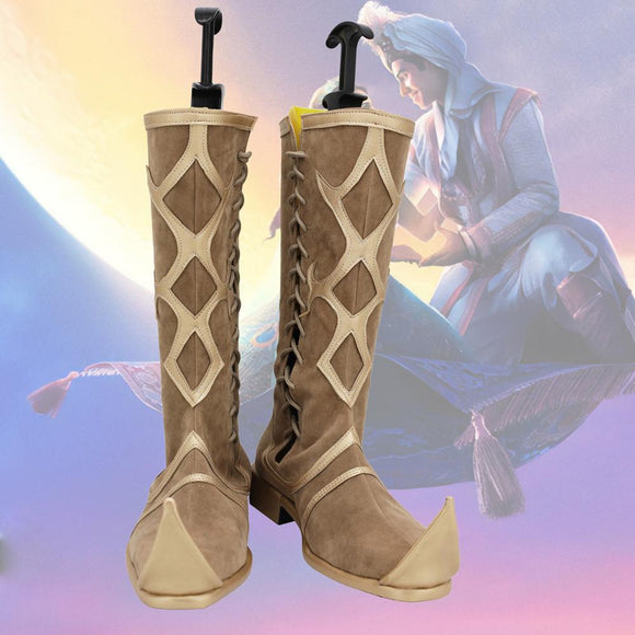 Movie Aladdin Cosplay Boots Prince Aladdin Cosplay Shoes Brown Boots Custom Made Any Size