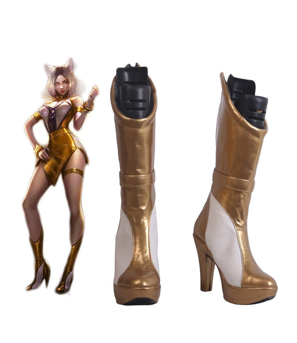 League of Legends LOL KDA Ahri Prestige Edition Cosplay Boots Golden High Heel Shoes