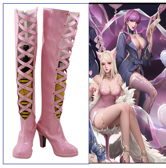League of Legends LOL KDA Evelynn Agony's Embrace Cosplay Pink Boots High Heels Shoes Custom Made
