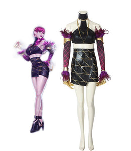 League of Legends LOL KDA Evelynn Cosplay Costume LOL Sexy Leather Costume Top Skirt Full Set