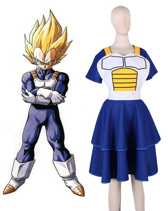 Dragon Ball Z Vegeta Super Saiyan Female Kimono Dress Cosplay Costume