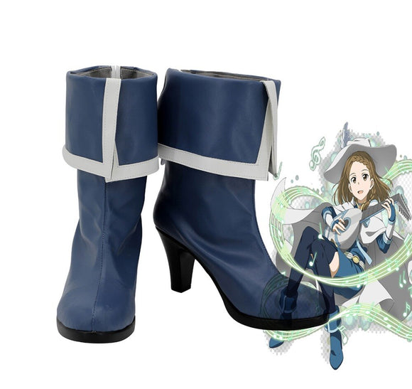 Sword Art Online Yuuki Asuna Cosplay Boots High Heel Blue Shoes Custom Made Leather Shoes
