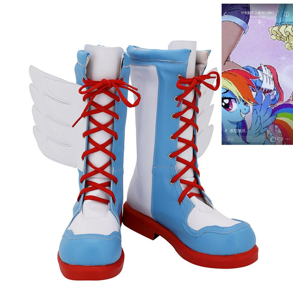 My Little Pony Rainbow Dash Cosplay Boots Custom Made Shoes Any Size for Girls and Boys