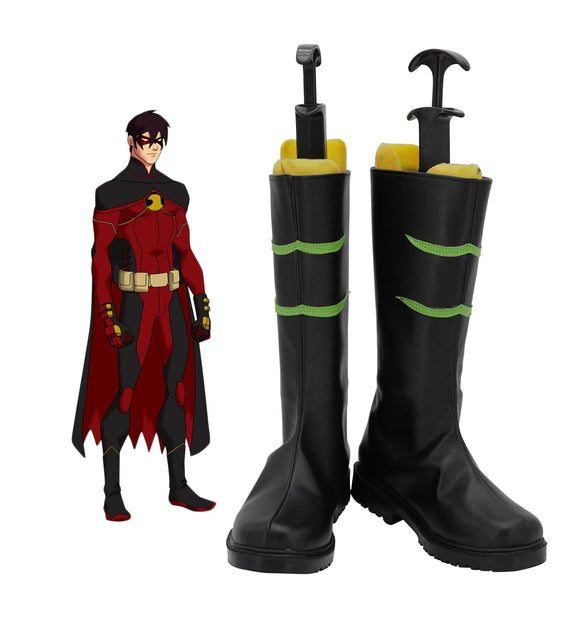 Justice League Red Robin Tim Drake Cosplay Boots Black Shoes Custom Made Halloween Costume Accessories