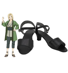 Anime Naruto Tsunade Cosplay Sandals High Heel Black Shoes Custom Made