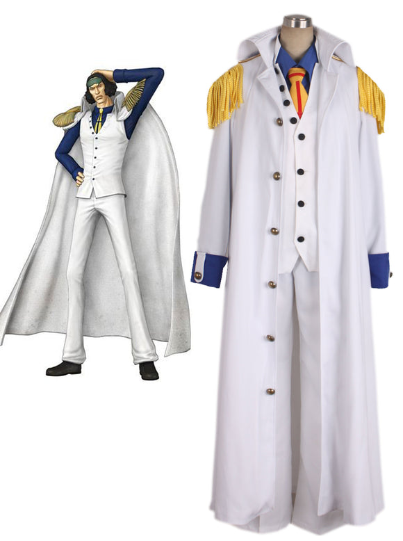 One Piece Aokiji Kuzan Navy Admiral Uniform Cosplay Costume